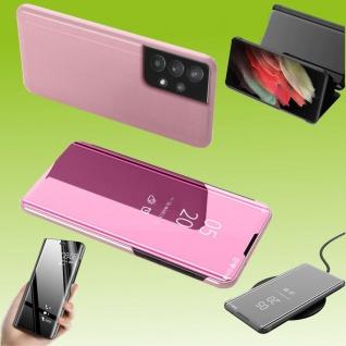 Für Samsung Galaxy A32 5G View Smart Cover Hülle Pink Handy Tasche Etuis Case