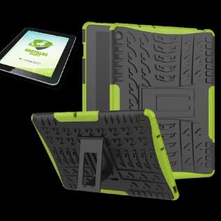 Für Huawei MediaPad M5 Lite 10.1 Hybrid Outdoor Grün Tasche + 0.4 H9 Schutzglas