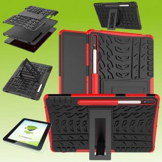 Für Samsung Galaxy Tab S7 Plus / S7 FE Hybrid Etuis Rot Hülle Cover Tasche + H9 Glas Neu