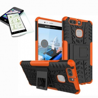 Hybrid Case Tasche Outdoor 2teilig Orange für Huawei P9 + H9 Hartglas Cover