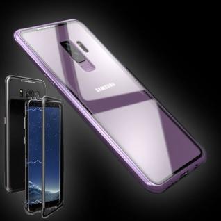 Für Samsung Galaxy S9 Magnet / Metall / Glas Lila / Transparent Tasche Hülle Neu