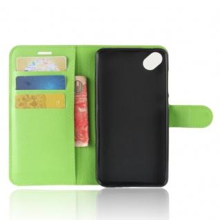 Tasche Wallet Premium Grün für Wiko Sunny 2 Plus Hülle Case Cover Etui Schutz - Vorschau 5