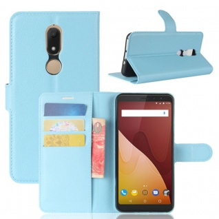Tasche Wallet Premium Blau für Wiko View Prime Hülle Case Cover Etui Schutz Neu