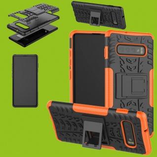 Für Samsung Galaxy S10 Plus G975F 6.4 Hybrid 2teilig Outdoor Orange Tasche Etuis