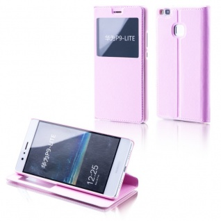 Booktasche Flip Window Rosa für Huawei Nova 5.0 Tasche Cover Hülle Case Etui Neu