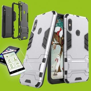 Für Xiaomi MI A2 Lite Tasche Metal Style Hybrid Case Hülle Silber + 0, 26 H9 Glas