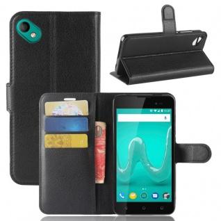 Tasche Wallet Premium Schwarz für Wiko Sunny 2 Plus Hülle Case Cover Etui Schutz