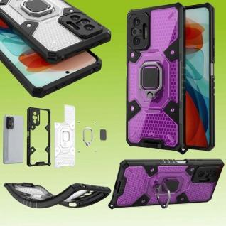 Für Xiaomi Redmi Note 10 Pro Lila Schock Hybrid PC +TPU + Ring Tasche Hülle Etui