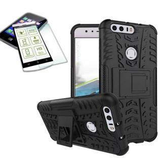 Hybrid Case Tasche Outdoor 2teilig Schwarz für Huawei Honor 8 + Hartglas Cover