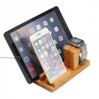Docking Station Ladestation Bambus Tisch Ständer für iPad iWatch iPhone 5 6 6S +