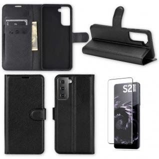 Für Samsung Galaxy S21 Handy Tasche Schwarz Hülle Etuis + H9 4D Curved Hart Glas