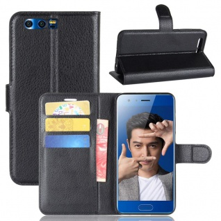 Schutzhülle Schwarz für Huawei Honor 9 Bookcover Tasche Case Cover Top Zubehör