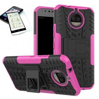 Hybrid Case Tasche Outdoor 2teilig Pink für Motorola Moto G5S Plus Hülle + Glas
