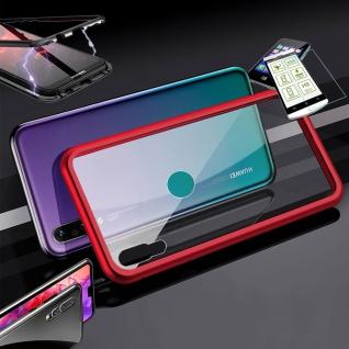 Für Huawei Y7 2019 Magnet Glas Tasche Rot / Transparent + 0, 26 H9 Glas Etuis Neu