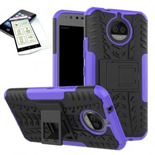 Hybrid Case Tasche Outdoor 2teilig Lila für Motorola Moto G5S Hülle Hartglas