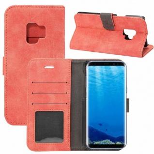 Deluxe Retro Tasche Wallet Rot für Samsung Galaxy S9 G960F Hülle Case Cover Etui