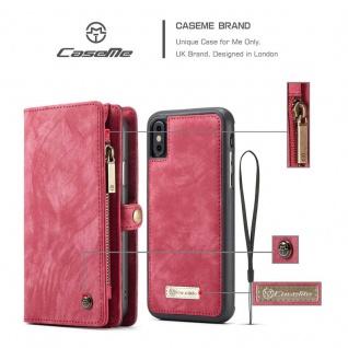 Schutzhülle Handy Tasche f. Apple iPhone X / XS Geldbeutel Schutz Hülle Etui Rot - Vorschau 3