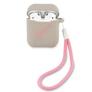 Guess Apple Airpods Cover Grau Pink Silicone Vintage Schutzhülle Tasche Case