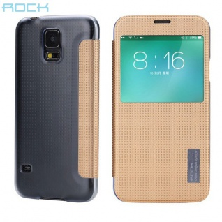 Original ROCK Smartcover Gold für Samsung Galaxy S5 Tasche Cover Case Hülle Neu