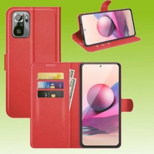 Für Xiaomi Redmi Note 10 Pro Handy Tasche Rot Etuis Kunst-Leder Cover Hülle Neu