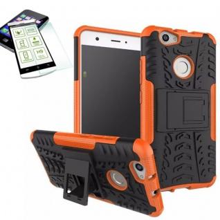 Hybrid Case Tasche Outdoor 2teilig Orange für Huawei Nova + Hartglas Cover Neu