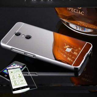 Alu Bumper 2 teilig Silber + 0, 3 H9 Glas für Sony Xperia XA2 Tasche Hülle Case