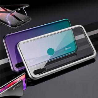 Für Huawei P30 Lite Magnet / Metall Glas Silber / Transparent Tasche Hülle Etuis
