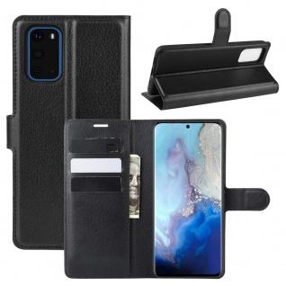 Für Samsung Galaxy S20 Plus G985F Handy Tasche Schwarz Hülle Etuis Kunst-Leder