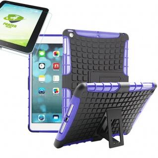 Für Apple iPad 9.7 2018 Hybrid Outdoor Schutzhülle Lila Tasche 0.4 H9 Glas Hülle