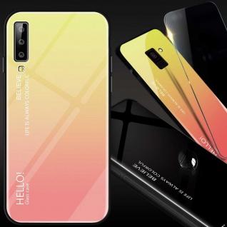 Für Samsung Galaxy A7 A750F 2018 Color Effekt Glas Cover Gold Tasche Hülle Case