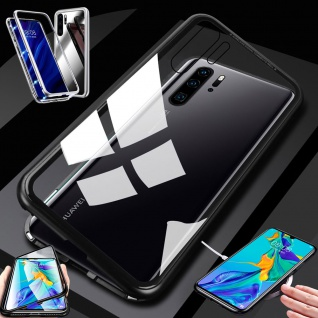 Für Huawei P30 Pro Magnet Glas Schwarz / Transparent Tasche Hülle Etuis Cover