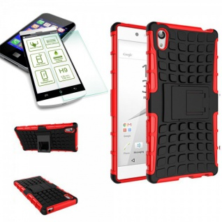 Hybrid Case 2 teilig Rot für Sony Xperia Z5 5.2 Zoll + 0, 3 H9 Hartglas Tasche