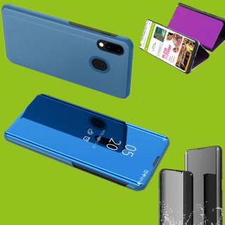 Für Samsung Galaxy A40 5.9 Clear View Smart Cover Blau Tasche Hülle Wake UP Etui