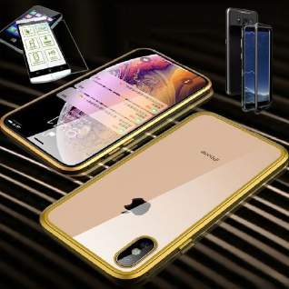 Für Apple iPhone X / XS 5.8 Magnet Glas Tasche Gold / Transparent + 0, 26 H9 Glas