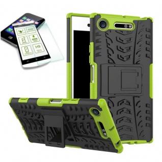 Hybrid Case 2 teilig Grün für Sony Xperia XZ1 Compact + 0, 3 H9 Hartglas Tasche