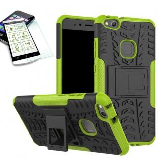Hybrid Case Tasche Outdoor 2teilig Grün für Huawei P10 Lite Hülle + Panzerglas
