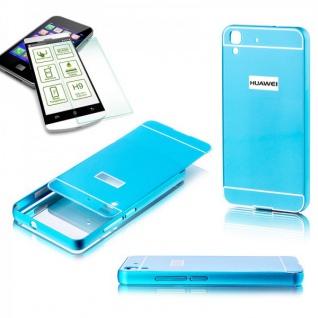 Alu Bumper 2 teilig Blau + 0, 3 mm H9 Panzerglas für Huawei Y6 Hülle Tasche Case