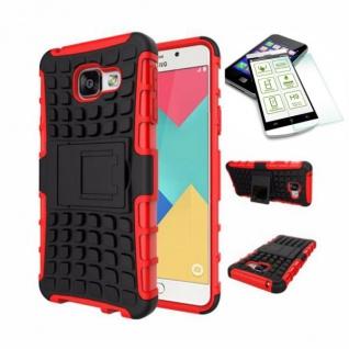 Hybrid Case Tasche 2teilig Rot für Samsung Galaxy A3 2016 A310F + H9 Hartglas