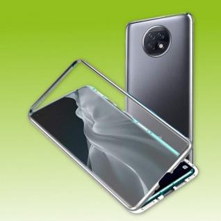 Beidseitige Magnet Glas Bumper Handy Tasche Silber für Xiaomi Redmi Note 9T Etui