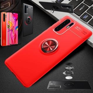Für Huawei P30 Pro Magnet Metall Ring Dünn Hülle Rot Tasche Etuis + 4D Glas Case