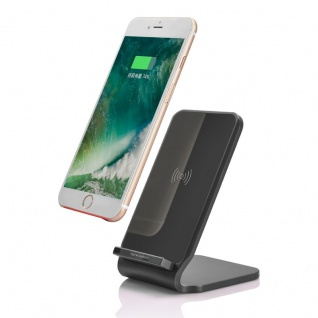 Induktive Schnellladestation 10W Ladestation Qi NFC Wireless Charger Dock Black