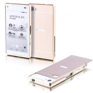 Alu Bumper 2teilig Abdeckung Gold für Sony Xperia Z5 Compact 4.6 Tasche Case Neu