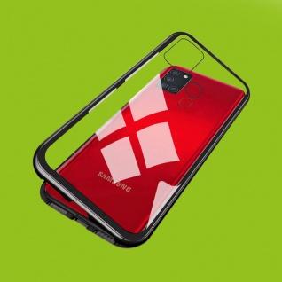 Für Samsung Galaxy A21s A217F Magnet Metall Glas Schwarz Handy Tasche Hülle Case