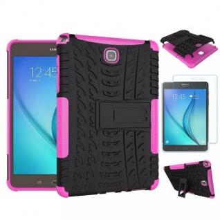 Hybrid Outdoor Tasche Pink für Samsung Galaxy Tab A 9.7 T550 + 0.4 H9 Hartglas