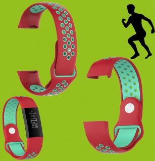 Für Fitbit Charge 3 Kunststoff Silikon Armband für Männer Größe L Rot-Türkis Uhr