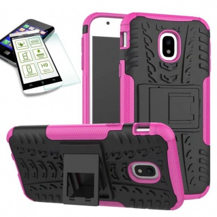 Hybrid Case Tasche 2teilig Pink für Samsung Galaxy J7 2017 J730F + H9 Hartglas