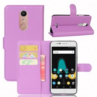 Tasche Wallet Premium Lila für Wiko Upulse Lite Hülle Case Cover Etui Schutz Neu