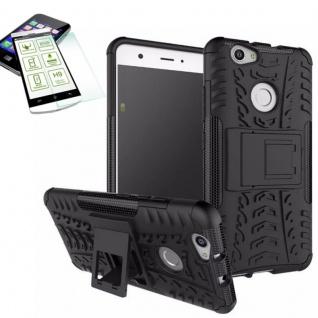 Hybrid Case Tasche Outdoor 2teilig Schwarz für Huawei Nova + Hartglas Cover