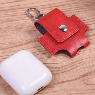 Kunstleder Tasche für Apple AirPods Rot Schutz Etui Tasche Halterung Zubehör