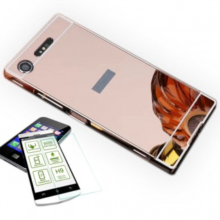Alu Bumper 2 teilig Pink + 0, 3 H9 Hartglas für Sony Xperia XZ1 Compact / Mini